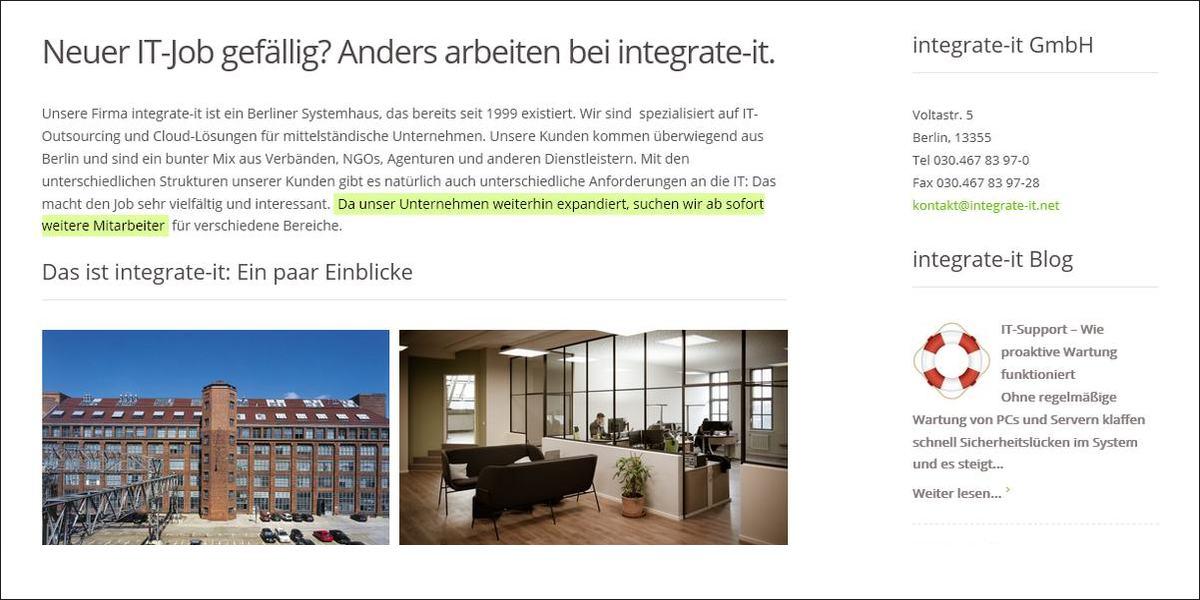 neuer it job gef llig anders arbeiten bei integrate it systemhaus berlin. Black Bedroom Furniture Sets. Home Design Ideas